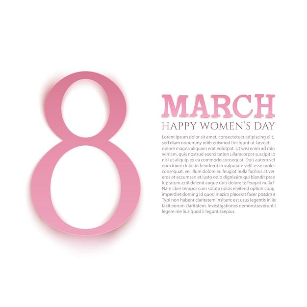 Marzo sfondo della giornata internazionale della donna. modello di biglietto di auguri. Vettore Premium