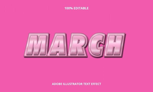 March metal text effect Vettore Premium