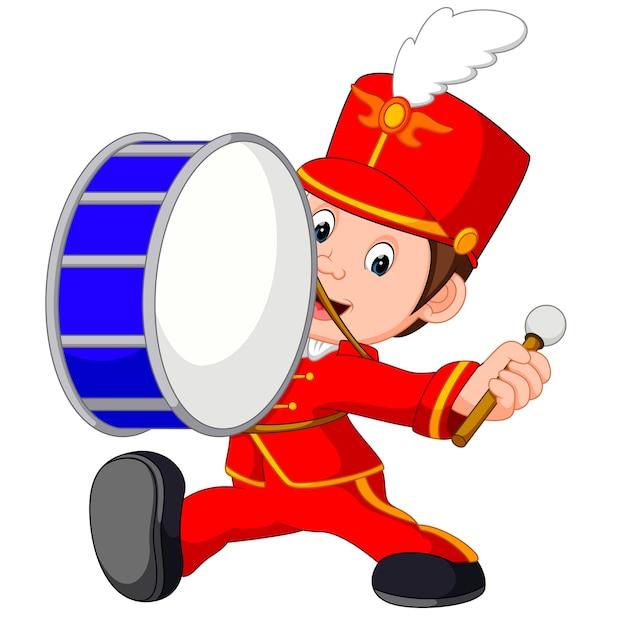 Banda musicale che batte un grosso tamburo Vettore Premium