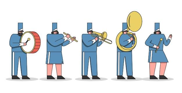 Cartoni animati della banda musicale. membri dell'orchestra militare con strumenti musicali che indossano uniformi Vettore Premium
