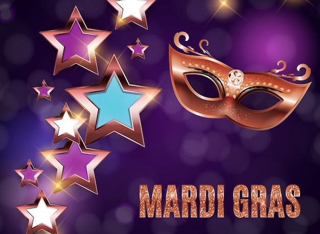 Fondo di festa della maschera del partito di mardi gras Vettore Premium