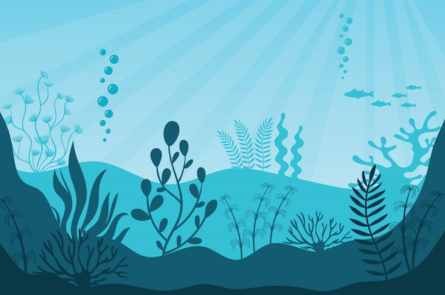Vita marina. bellissimo ecosistema marino Vettore Premium