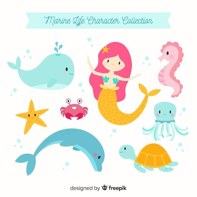 Collezione di personaggi della vita marina Vettore Premium