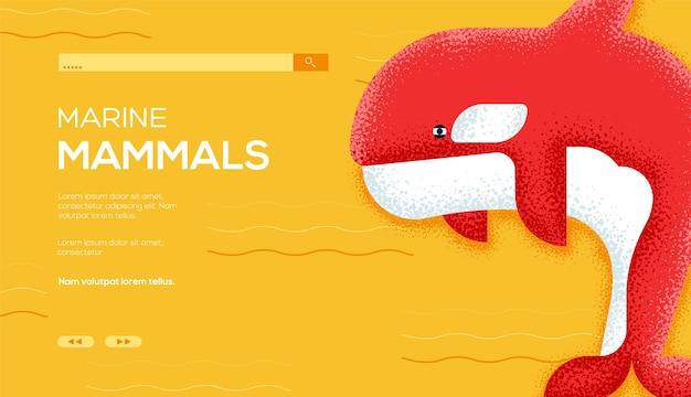 Pagina di destinazione dei mammiferi marini Vettore Premium