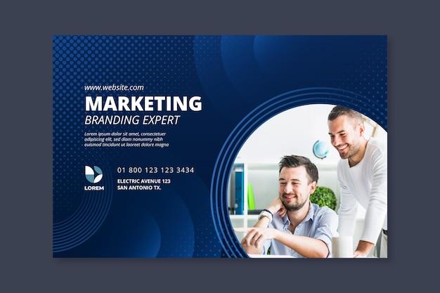 Banner orizzontale di attività di marketing Vettore Premium