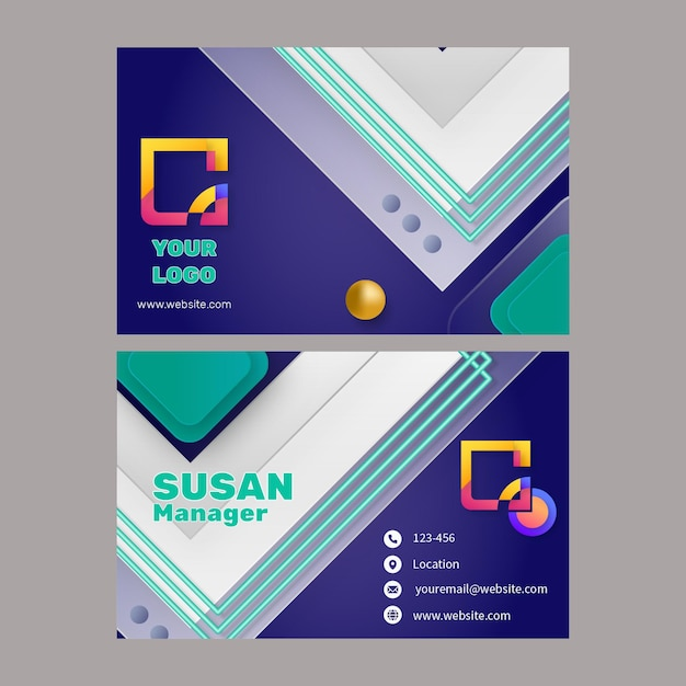 Modello di biglietto da visita orizzontale di affari di marketing Vettore Premium