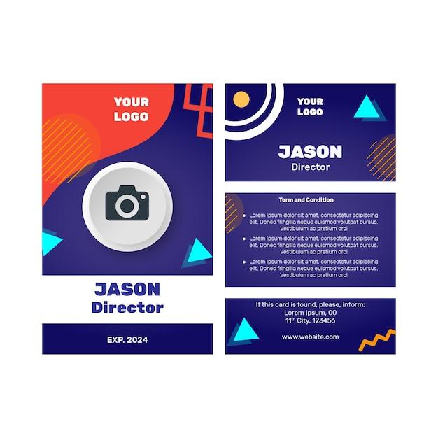 Modello di carta d'identità aziendale di marketing Vettore Premium