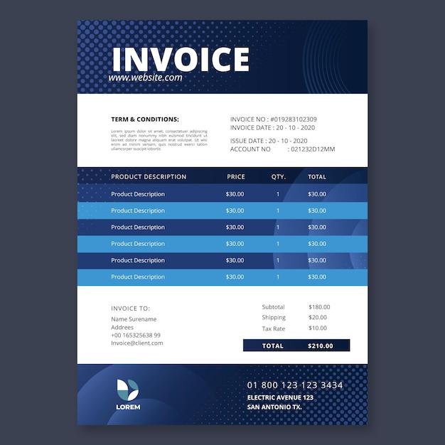 Modello di fattura aziendale di marketing Vettore Premium
