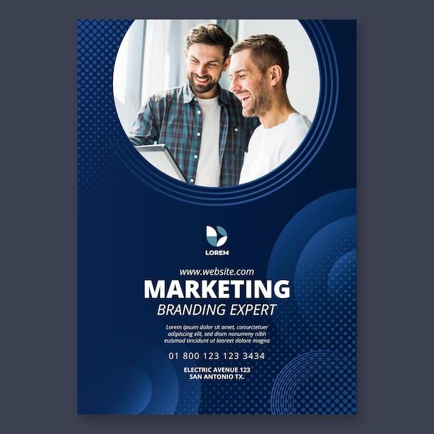 Modello di poster aziendale di marketing Vettore Premium