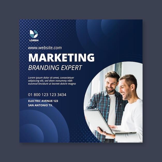 Volantino quadrato di marketing aziendale Vettore Premium