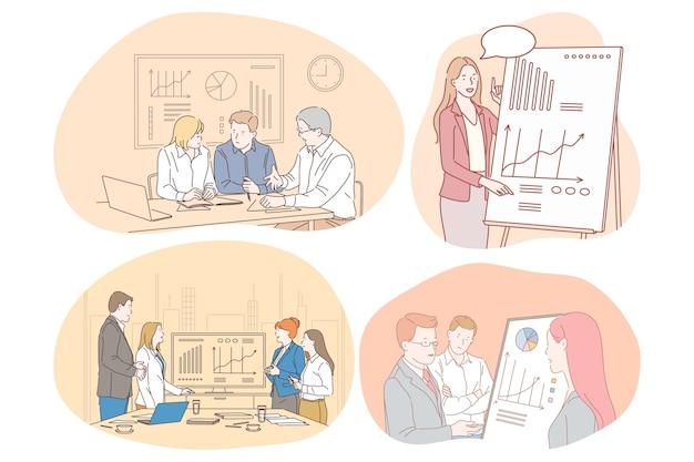 Marketing finanza lavoro di squadra presentazione comunicazione aziendale, concetto di statistiche. Vettore Premium