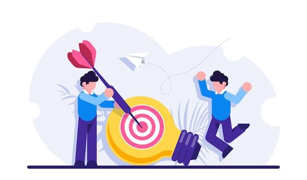 Generazione di idee di marketing, innovazione aziendale, creatività, raggiungimento degli obiettivi Vettore Premium