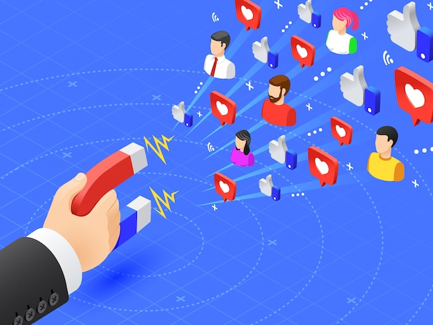 Seguaci coinvolgenti del marketing. ai social media piace e segue il magnetismo. l'influencer annuncia l'illustrazione di vettore di strategia Vettore Premium