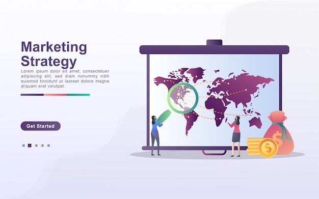 Concetto di strategia di marketing. annuncio di attenzione, marketing digitale, pubbliche relazioni, campagna pubblicitaria, promozione aziendale. Vettore Premium
