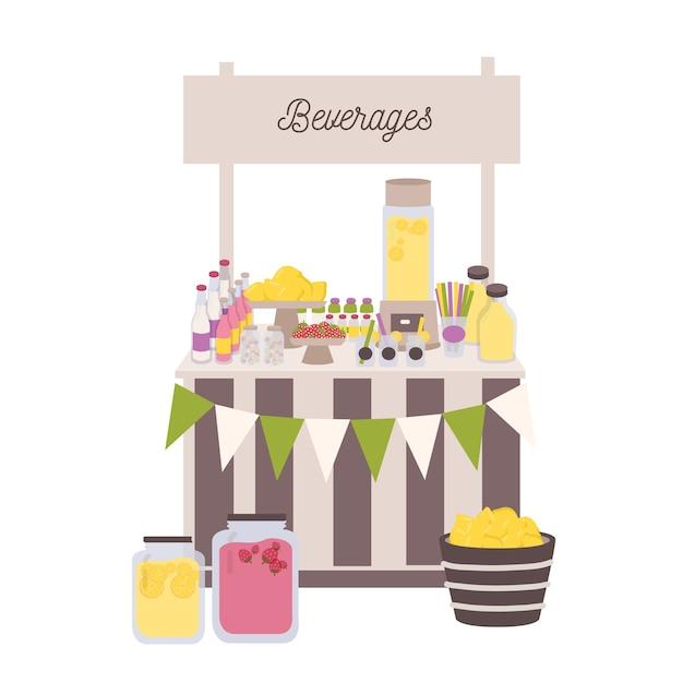 Mercato o bancone con cartello, bottiglie e barattoli con limonata e altre bevande Vettore Premium