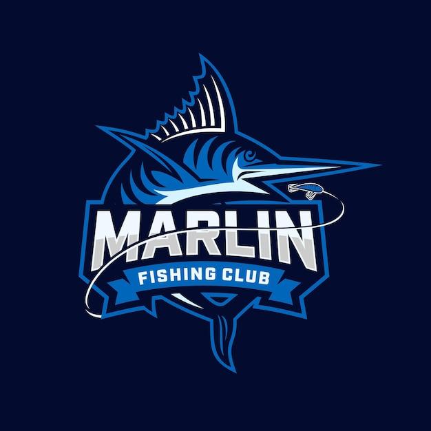 Marlin fishing club logo. modello unico e fresco di blue marlin vector & logo. Vettore Premium