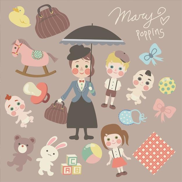 Sposare poppins Vettore Premium