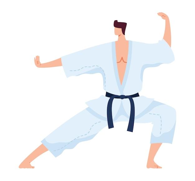 Arte marziale, forte combattente giapponese in kimono bianco, esercizio di allenamento sportivo di kung fu, illustrazione piatta, isolato su bianco. l'uomo pratica calci, stile di vita attivo di judo, esercizio di formazione, Vettore Premium