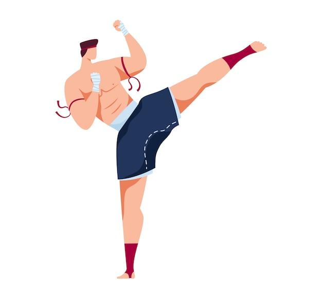 Arte marziale, allenamento di karate, posa d'attacco, combattente di judo tradizionale, fumetto di design, isolato su bianco. sport aggressivo orientale, pratica combattimento singolo, uomo che pratica calci Vettore Premium