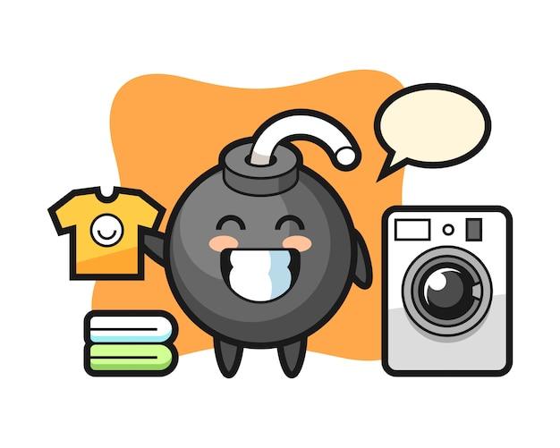 Cartone animato mascotte di bomba con lavatrice Vettore Premium