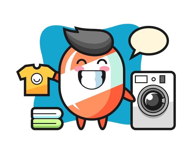 Mascotte dei cartoni animati di caramelle con lavatrice Vettore Premium