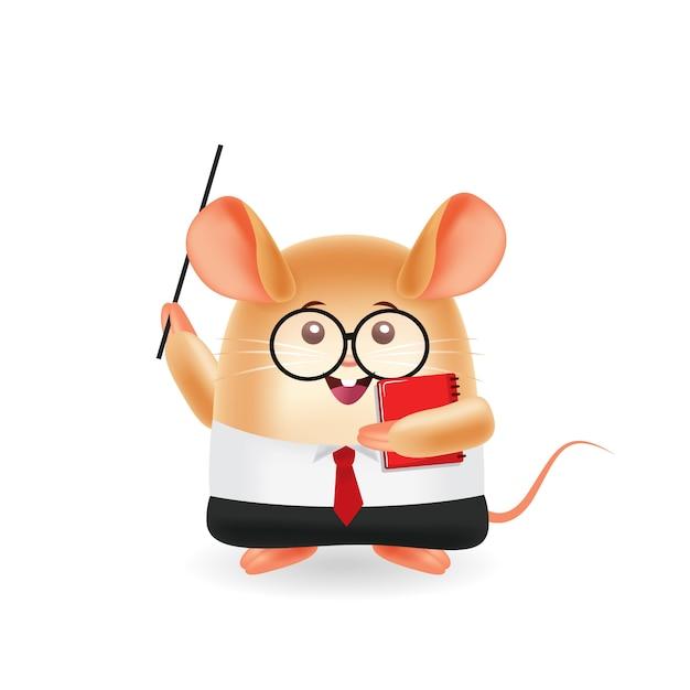 Mascotte dei cartoni animati. insegnante di topo e libro di detenzione. sfondo isolato. Vettore Premium