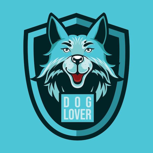 Amante del cane logo mascotte Vettore Premium