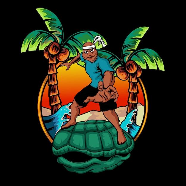 Illustrazione del fumetto della tartaruga della mascotte Vettore Premium