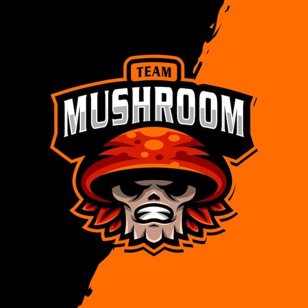 Logo della mascotte di mashroom esport Vettore Premium