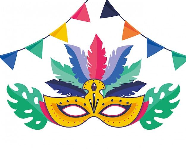 Maschera brasile illustrazione vettoriale di carnevale Vettore Premium