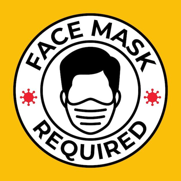 Maschera richiesta, pericolo di gas, respiratore ware, pericolo di polvere, virus, corona, covid-19 Vettore Premium