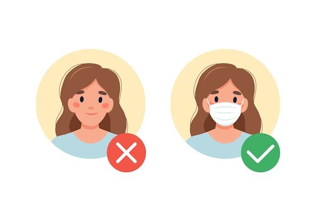Maschera richiesta. nessuna entrata senza indossare una maschera. donna con e senza mascherina medica. Vettore Premium