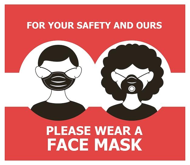 Maschera richiesta poster con coppia che indossa maschere illustrazione vettoriale design Vettore Premium