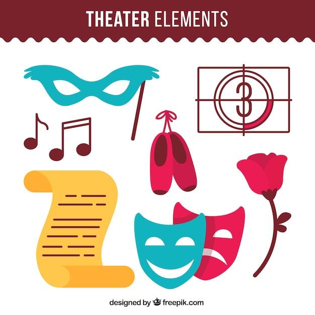 Maschera set e altri elementi teatrali Vettore Premium