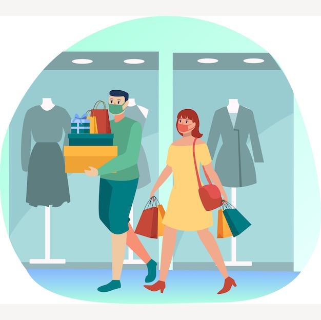Le coppie mascherate stanno facendo compere insieme in qualche centro commerciale durante la nuova illustrazione normale Vettore Premium