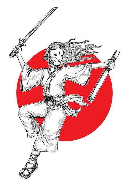 Illustrazione mascherata della ragazza del samurai Vettore Premium