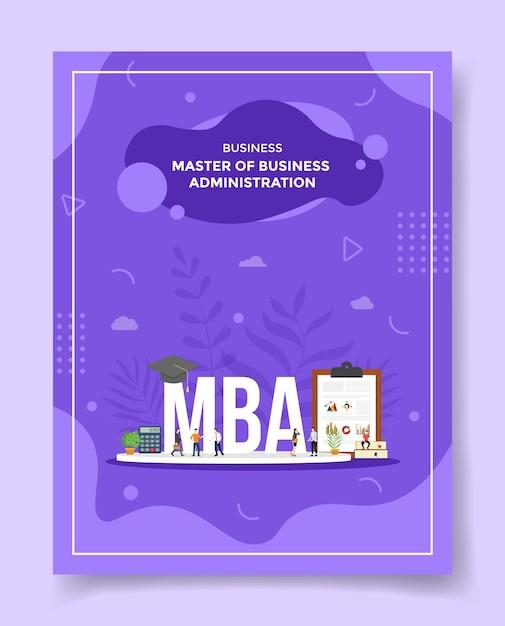 Master of business administration concetto persone intorno a parola mba cappello calcolatrice appunti grafico libro cappello per modello Vettore Premium