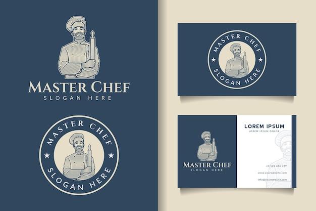 Master chef incisione vintage logo e modello di biglietto da visita Vettore Premium