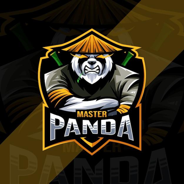 Modello di progettazione di esports logo mascotte maestro panda Vettore Premium