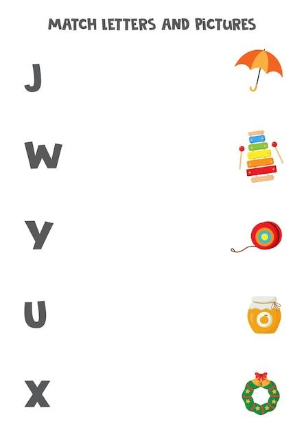 Abbina immagini e lettere. gioco logico educativo per bambini. foglio di lavoro del vocabolario per bambini in età prescolare. Vettore Premium