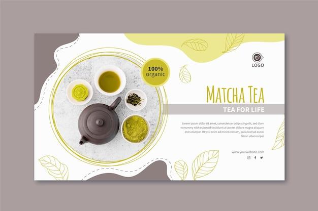 Modello di banner di tè matcha Vettore Premium