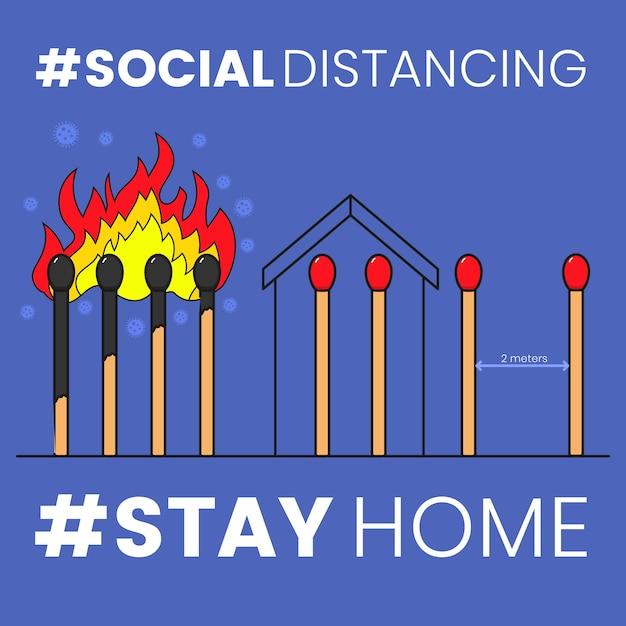 Corrisponde al concetto di distanza sociale Vettore Premium
