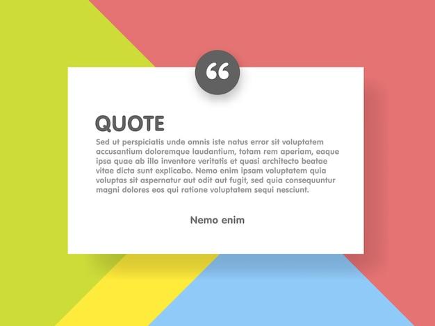 Materiale design stile sfondo e citazione rettangolo con modello di informazioni di testo di esempio Vettore Premium
