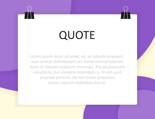 Stile di design del materiale e rettangolo di citazione con informazioni di testo di esempio Vettore Premium