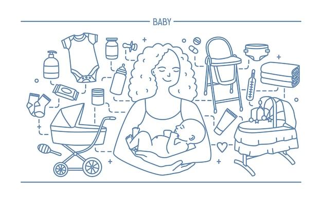Concetto di maternità. banner orizzontale con madre e bambino Vettore Premium