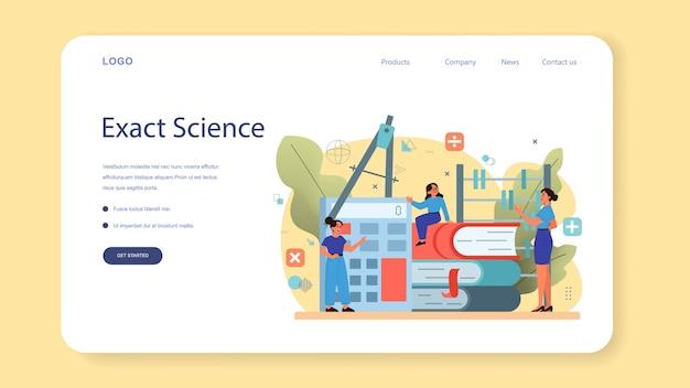 Banner web o pagina di destinazione della materia della scuola di matematica. Vettore Premium
