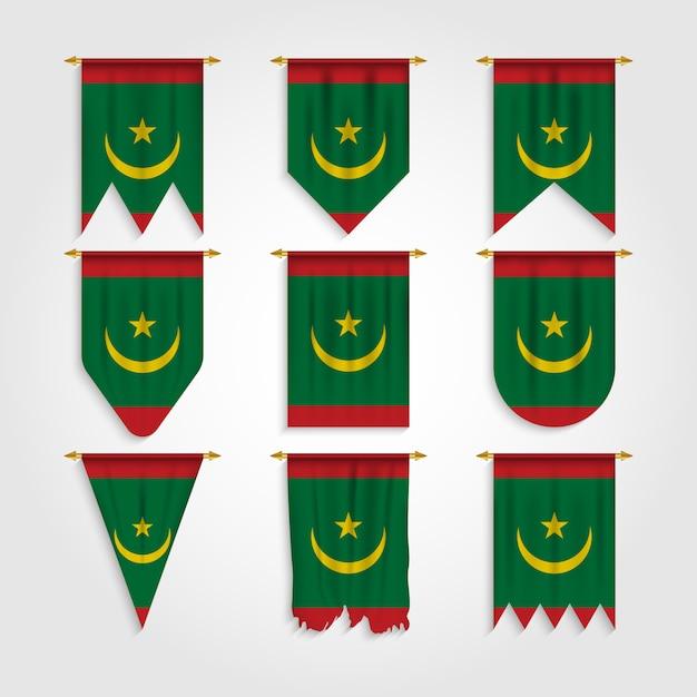 Bandiera della mauritania in diverse forme, bandiera della mauritania in varie forme Vettore Premium