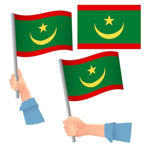 Set bandiera mauritania in mano Vettore Premium