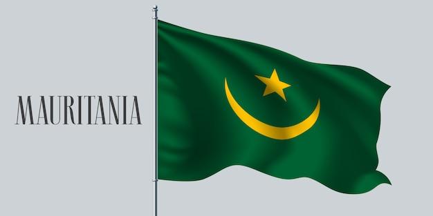 Mauritania sventolando bandiera Vettore Premium