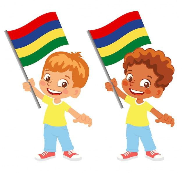 Bandiera di mauritius in mano insieme Vettore Premium